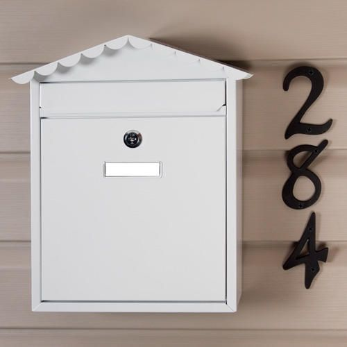 Visit Locking Wall-Mount Mailbox - White Powder Coat