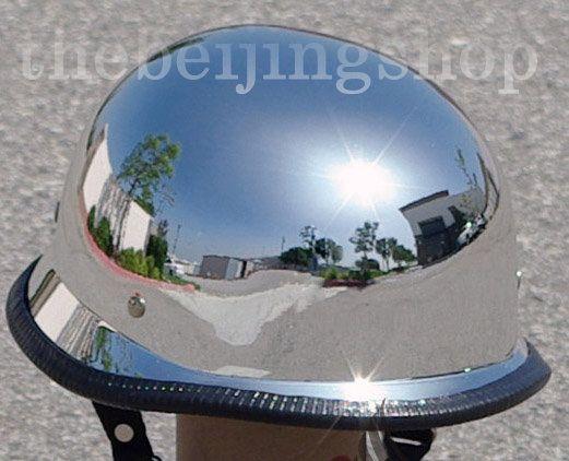 Chrome Silver German Style Motorcycle Half Helmet