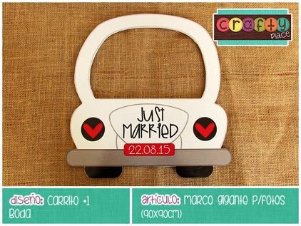 Marco gigante de Carrito - Boda… Podemos personalizarla con cualquier tema! • Car giant photo frame - Wedding... We can personalize it with any party theme!