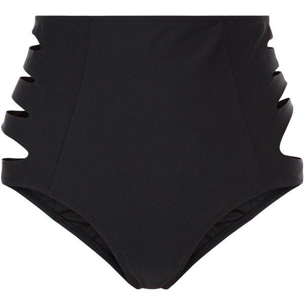 New Look Black Cut Out Side High Waisted Bikini Bottoms ($19) ❤ liked on Polyvore featuring swimwear, bikinis, bikini bottoms, black, high rise bikini, high waisted two piece, high-waisted swimwear, cut out bikini and cutout bikini