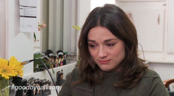 Well, this is heartbreaking. In a cast interview with MTV on the subject of Allison Argent's death, Crystal Reed, teary-eyed, told the cameras that she's 'feeling really sad because [she] loves All...