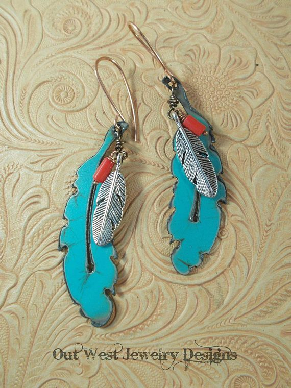 Turquoise Eagle Feather Dangle Earrings with Coral