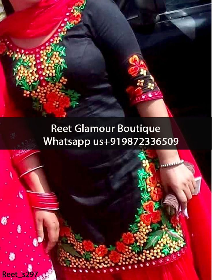 Blooming Black And Red Embroidered Punjabi Suit Product Code : Reet_s297 To Order, Call/Whats app On +919872336509 We Offer Huge Variety Of Punjabi Suits, Anarkali Suits, Lehenga Choli, Bridal Suits,Sari, Gowns Etc .We Can Also Design Any Suit Of Your Own Design And Any Color Combination