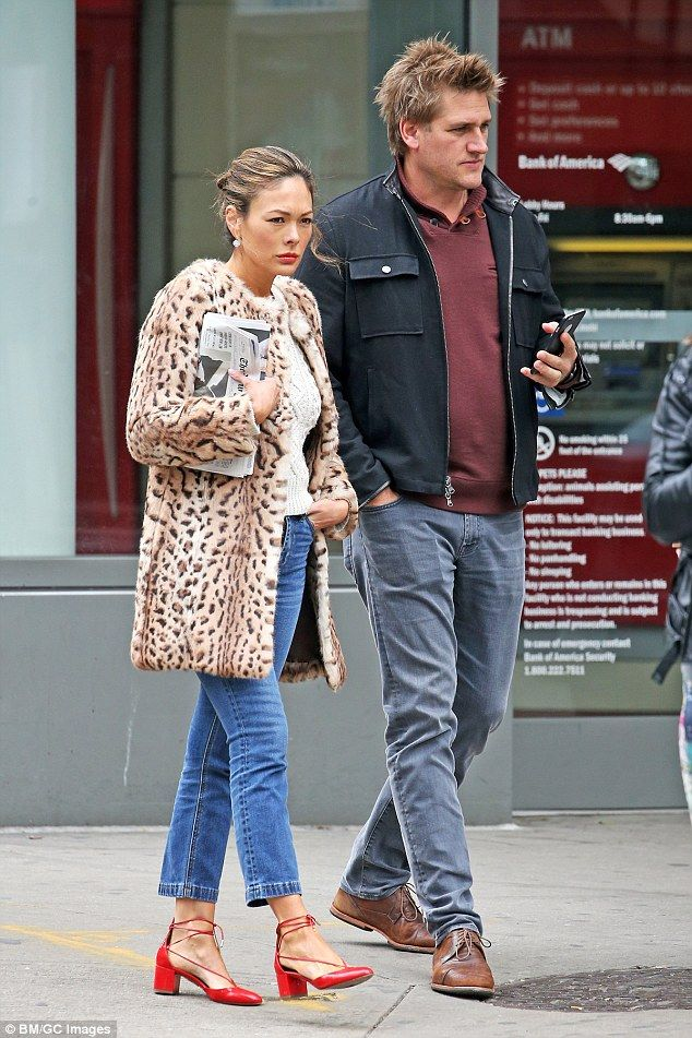 Stylish: Celebrity chef Curtis Stone's wife Lindsay Price rocked a leopard print coat as s...
