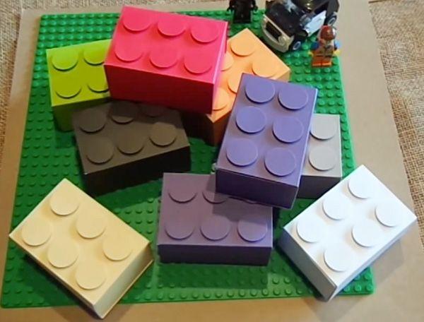 """Super cute """"Lego"""" treat boxes made using an Envelope Punch Board (süße Idee zum Verschenken für Kindersüßigkeiten) Measurements: Box ("""" x 6"""" (Punch/Score 3 5/8"""", 4 1/4"""", 1 3/4"""", 2 3/8"""") Cover 2 7/8"""" x 8 1/8"""" (Score 1 3/8"""", 3 3/8"""" 4 3/4"""", 6 3/4"""") Top of Lego Brick 3/4"""" Circle Punch (6 total)"""