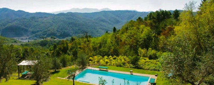 Stunning views from the pool at I Gemelli, near Lucca.