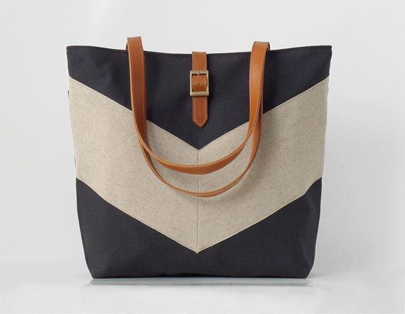 designer tote diaper bags 4lhm  Linen chevron, Dark navy tote / diaper bag / shoulder bag, leather handles,  9 inside pockets Waterproof poly lining available