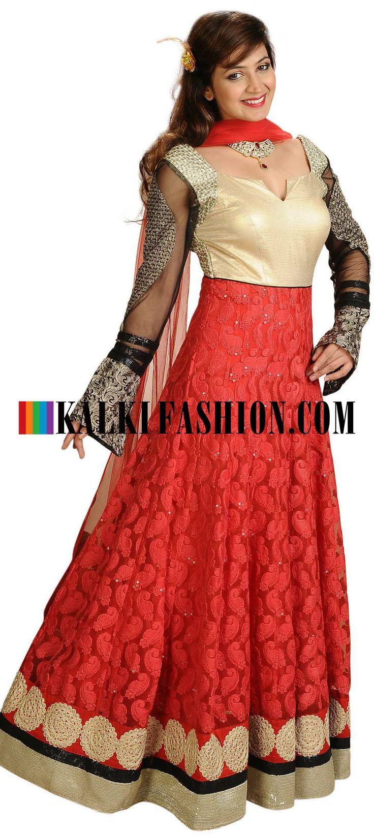Buy Online from the link below. We ship worldwide (Free Shipping over US$100)  http://www.kalkifashion.com/red-anarkali-suit-featuring-in-kasab-embroidery.html