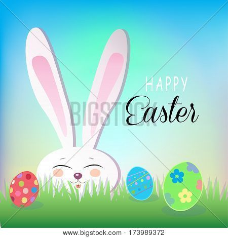 Happy Easter Holiday, Easter Rabbit and Easter eggs, green grass, blue sky. Easter Bunny. Greeting card background. Cute Rabbit Flat. Poster. Frame Vector Illustration