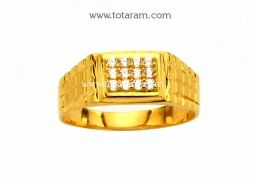 Buy 22K Gold Ring for Men with Cz - GR3863 with a list price of $302.99 - 22K Indian Gold Jewelry from Totaram Jewelers