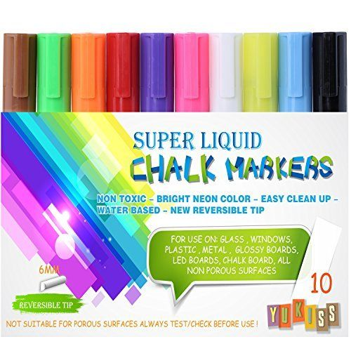 Chalk Markers -- Yukiss® Vibrant Liquid Chalk Pens: 10 Pack with 6mm Reversible Tip + 4 Free Tips + 8 Free Chalk Labels (Super Chalk, Your Best Choice of Chalk Pen and Liquid Chalk Markers) by Yukiss via https://www.bittopper.com/item/chalk-markers-yukissr-vibrant-liquid-chalk-pens-10/