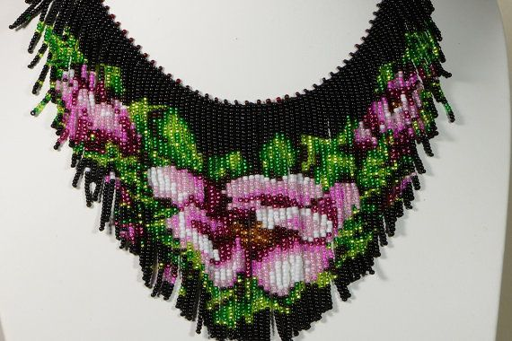 tea rose beadwork necklace beadweaving fringe necklace seed bead choker…