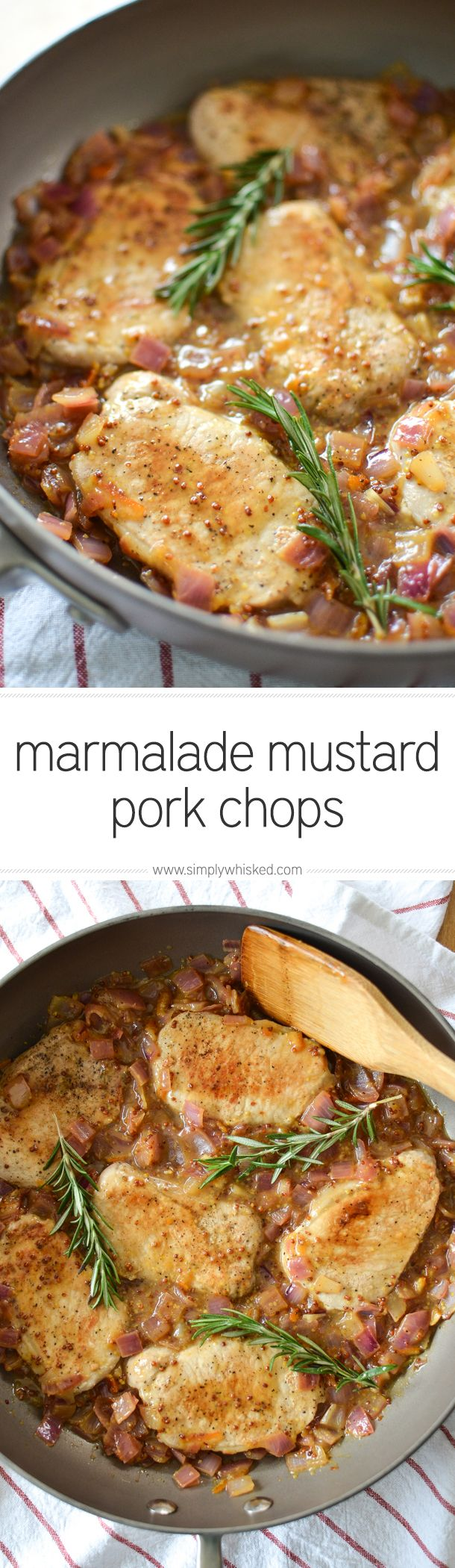 Marmalade Mustard Pork Chops with Rosemary | pork chop recipe | easy dinner recipe | simplywhisked.com