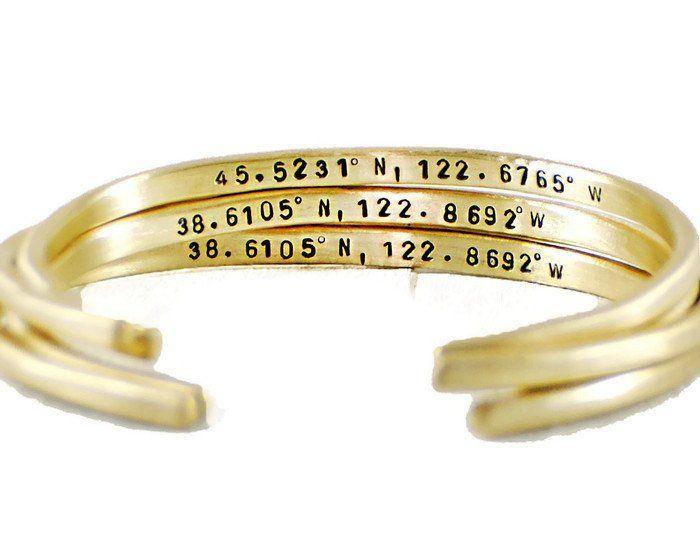Custom Coordinates Brass Cuff Bracelet.