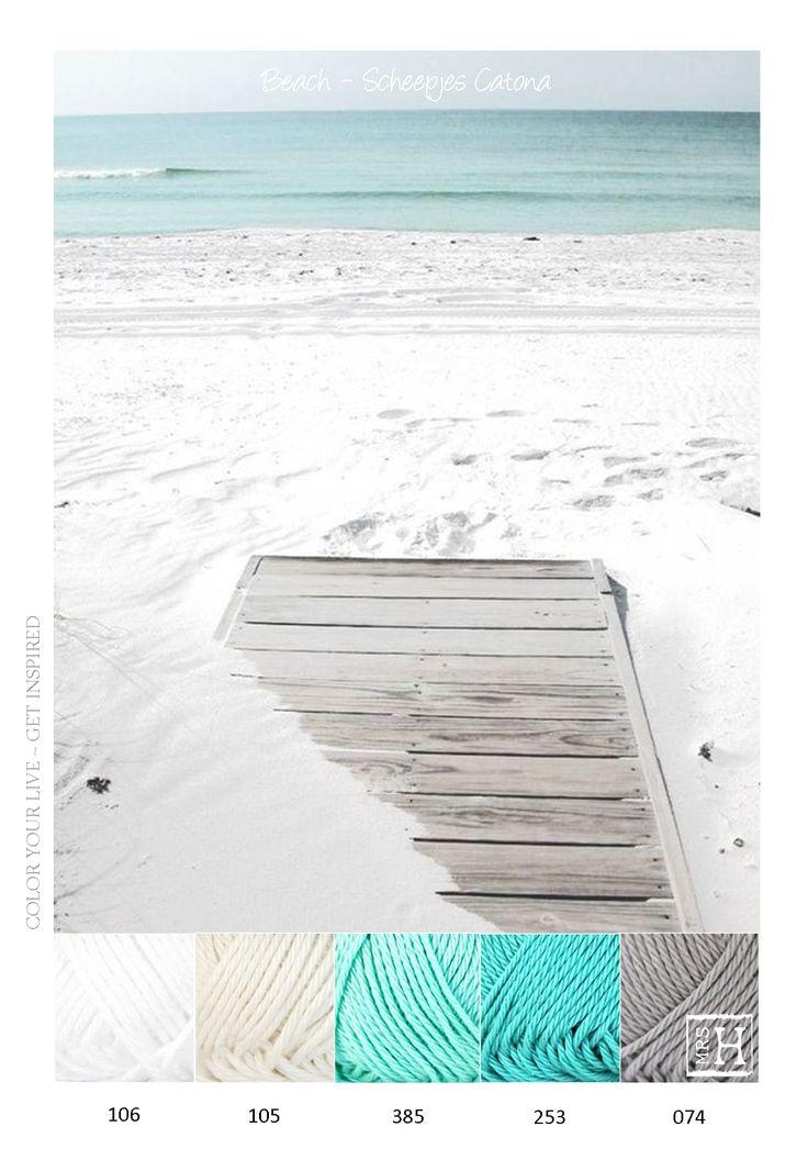 Kleurinspiratie Beach - Scheepjes Catona is een mooie glanzende katoen en uitermate geschikt om mee te haken. Te gebruiken voor bijvoorbeeld amigurumi's, maar ook sjaals en woonaccessoires kunnen gemaakt worden van dit garen.Te verkrijgen in vele kleuren