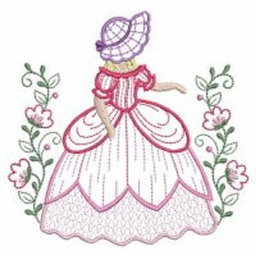 5 southern belle sunbonnet sue garden floral embroidered for Garden embroidery designs