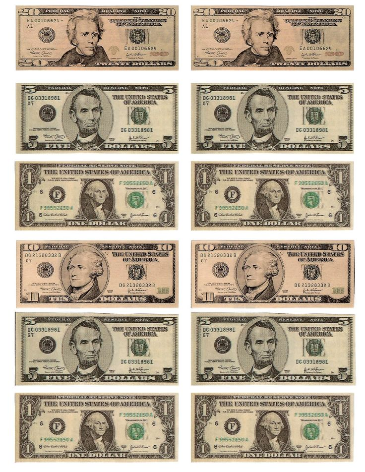 Legal free printable money when teaching about money or for Fake money images