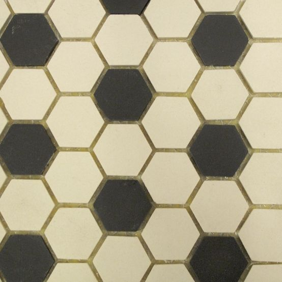 Kitchen And Bathroom And Hallway Option Of Black & White Hexagon Floor Tiles.
