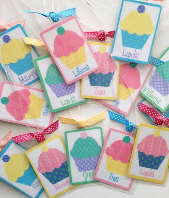 Cupcake Party Favors Cupcake Bag Tag Personalized by Toddletags, $34.50 #cupcake  #personalized  #party favors