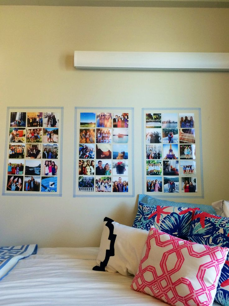 Washi tape frame containing photos one big frame for each roomie.