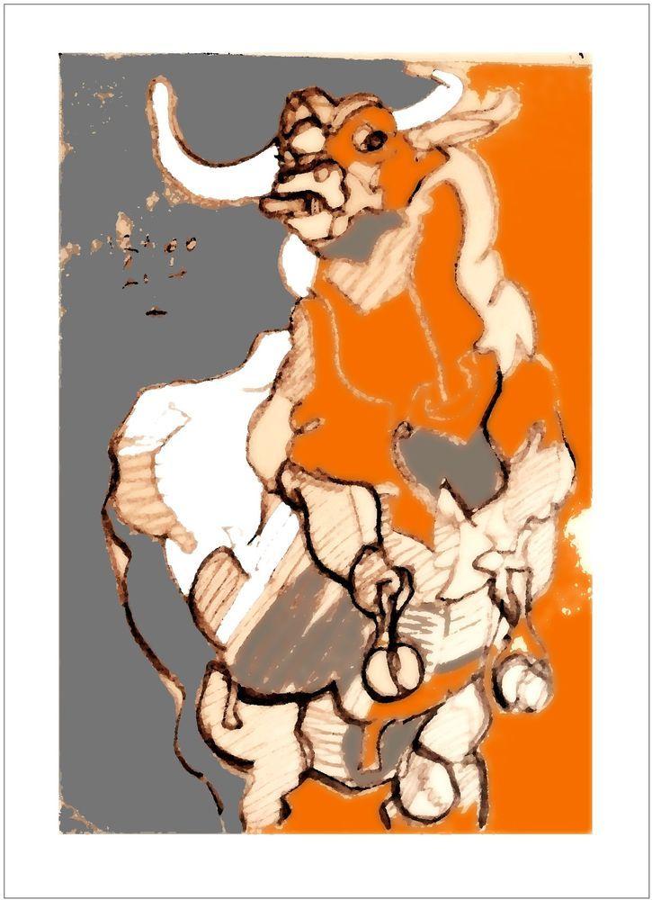 PHOTO -Taureau Bull Corrida - TIRAGE ORIGINAL  Daté Signé SZABO 2014