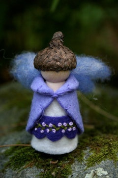 Purple lavender violet felt gnome Waldorf inspired by forestmother,