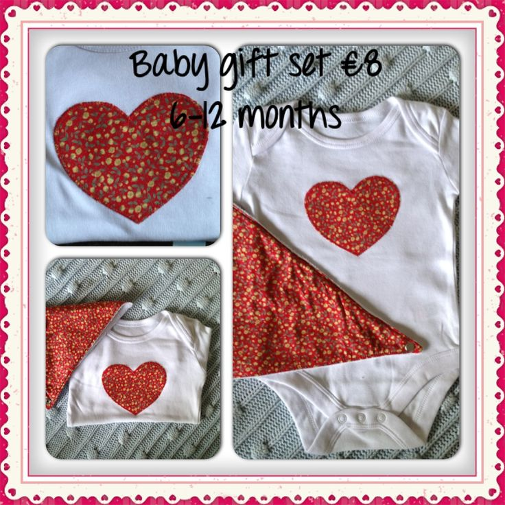 Ditsy floral heart appliqued cotton bodysuit with matching bandana bib.