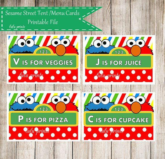 Sesame Street Themed Printable Tent Cards   Menu/Buffet Cards   Birthday Or Baby  Shower