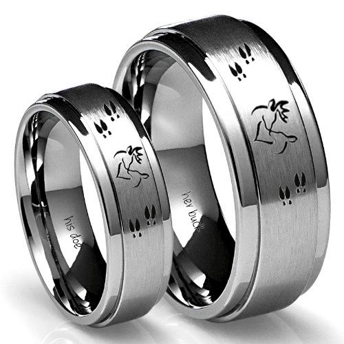his and her  her buck his doe ring set