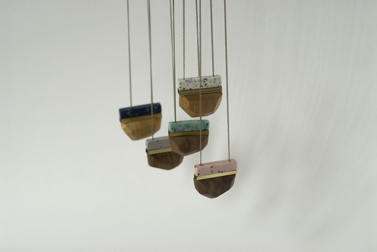 dorandkie pendants in wood, brass and polymer clay