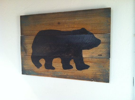 Awesome Cabin art! Large Rustic Black Bear on Wood  Hand Painted by TuckersMercantile, $48.00
