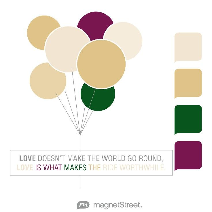 Champagne, Gold, Hunter, and Sangria Wedding Color Palette - free custom artwork created at MagnetStreet.com