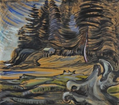 """Shore and Forest,"" (""Cordova Bay""), Emily Carr, 1931, oil on paper laid down on canvas, 24 x 26 3/4"", Art Gallery of Greater Victoria."