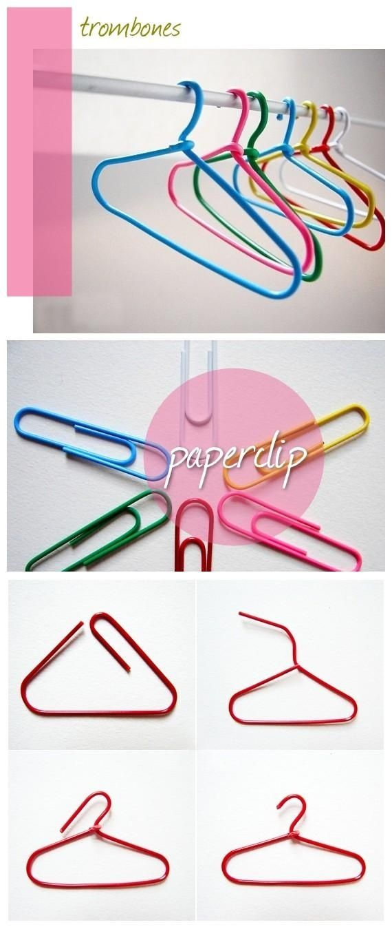 Paper clip hangers for doll's clothes-  I would have loved this idea for all my Barbie clothes when I was a kid!