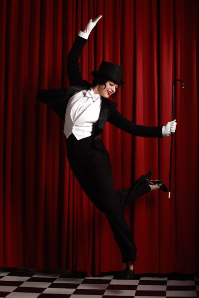 Bonnie in her tuxedo. Top hat Fred Astaire Marlene Dietrich cane ladies in suits 1940s forties burlesque. Bonnie Fox is a London based burlesque artist. Bonnie Fox via www.bonniefoxburlesque.com #bonniefox