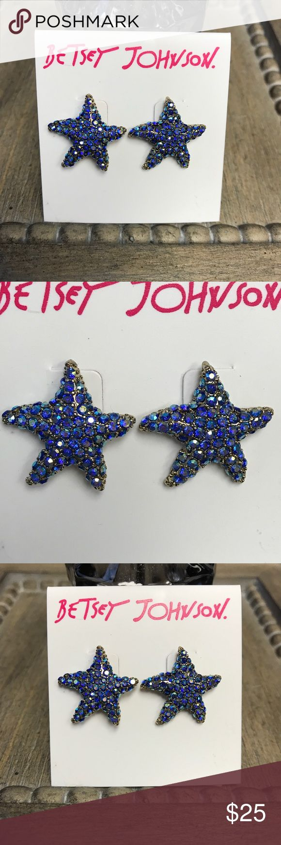 Betsey Johnson Glitter Reef Starfish Earrings Betsey Johnson Glitter Reef  Starfish Button Earrings (b12373