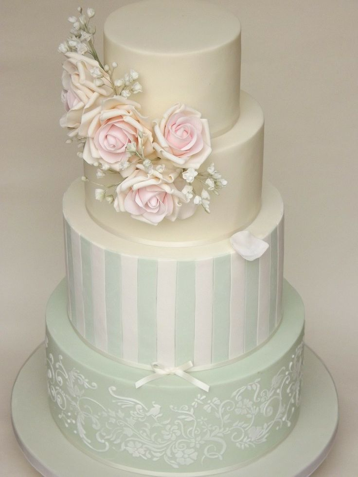 Gorgeous pastel cake with lovely detail. Beautiful mix of patterns and colours. by Petit Gateau ᘡղᘠ