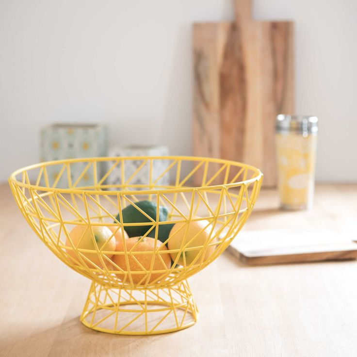 free yellow home interior inspiration graphic yellow metal fruit basket maisons du monde with. Black Bedroom Furniture Sets. Home Design Ideas