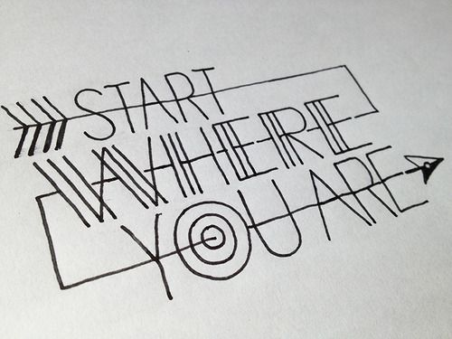 accidental-typographer: start where you are Handwritten typography 4.7.13 photo