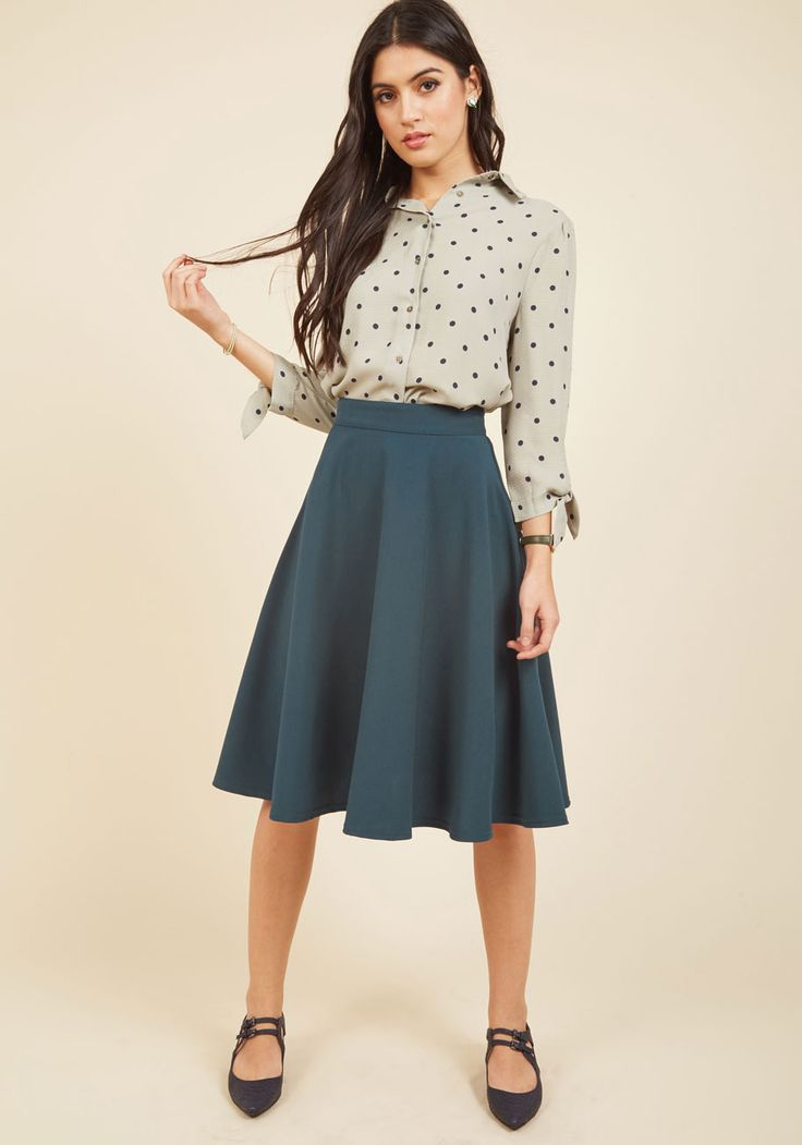 Bugle Joy A-Line Skirt in Lake. You hear your friends truck horn toot outside your window - your trumpet call to scoot this A-line skirt out the door and hop in! #blue #modcloth