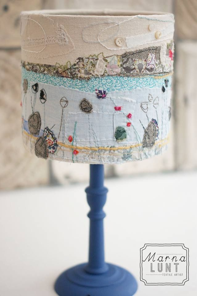 St Ives lampshade. Hand embroidered lampshade from marnalunt.co.uk