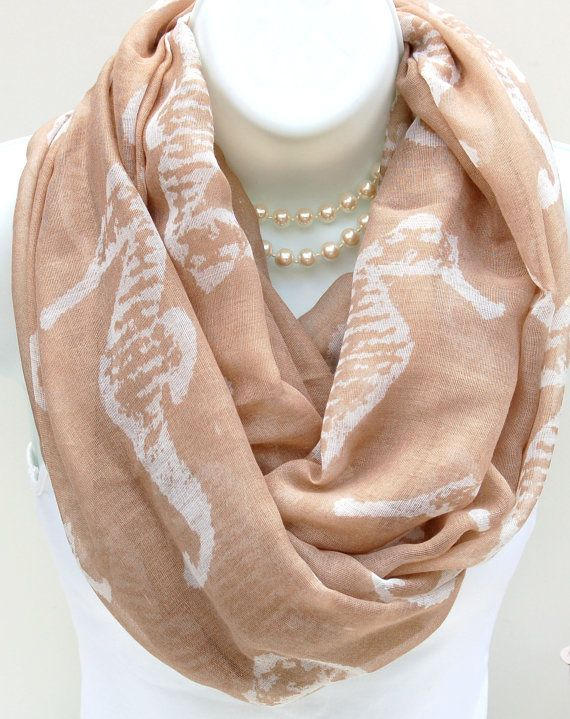 Nautical Seahorse Infinity Scarf. Beige & White by HappyIdeology
