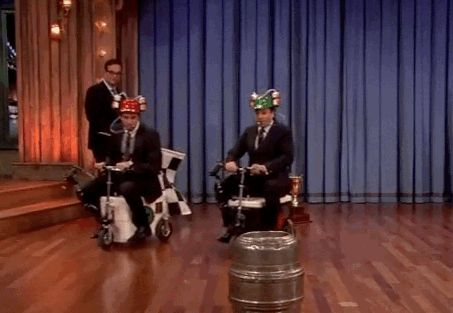 Liam Hemsworth And Jimmy Fallon Compete In A Scooter Race
