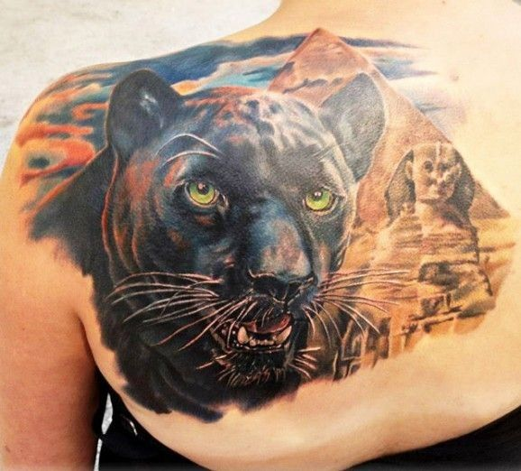 Leopard Tattoos Designs Ideas And Meaning: Black Panther And Egyptian Sphinx Tattoo By Andre Zechmann