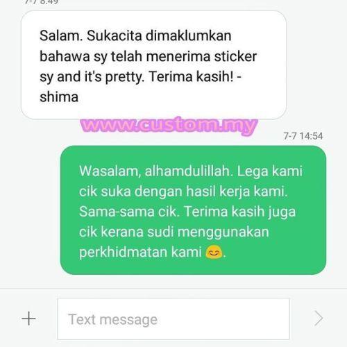 Alhamdulliahlega hati ini bila customer beri feedback...