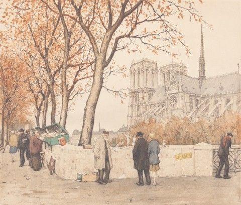 Šimon Tavík František (1877–1942) | Bukunisté u Notre Dame v Paříži, 1924 | Aukce obrazů, starožitností | Aukční dům Sýpka