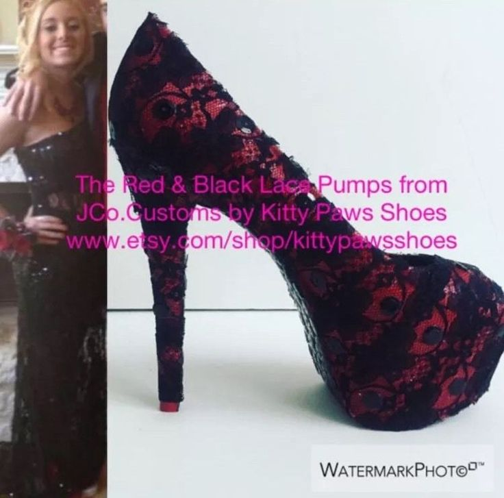 JCo.Customs by Kitty Paws Shoes The Red & Black Lace 6 1/2 inch Pumps Size 8.5  | eBay