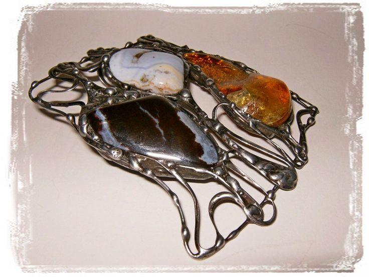 Wisior kamienie  w prostokącie - Amber-Box - Zawieszki