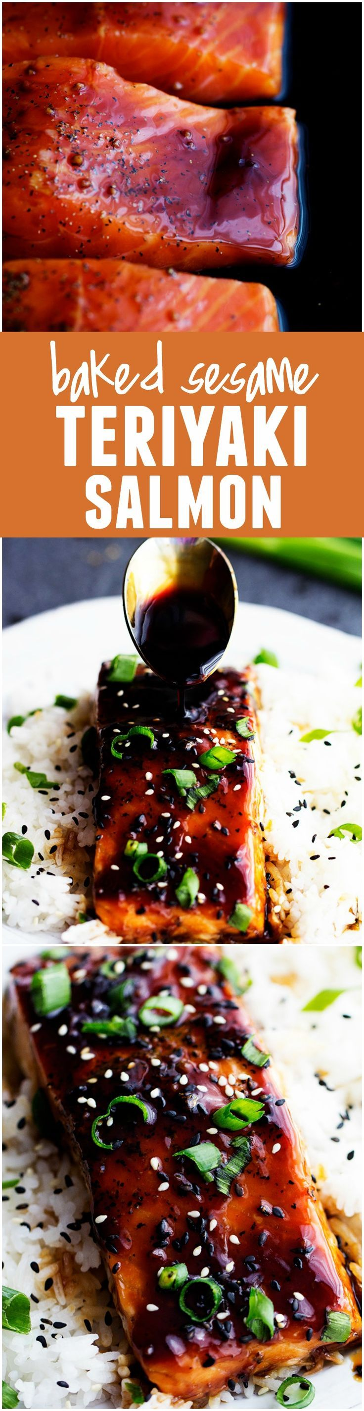 This Baked Sesame Salmon AKA THE BEST salmon you will ever eat!! The homemade sesame teriyaki sauce on top will blow your mind!