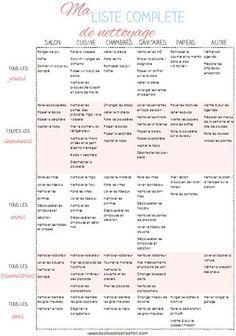 Ma liste complète de de nettoyage . A imprimer gratuitement !   accroalorganisation 